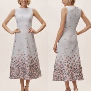 BHLDN Floral Embroidery Metallic Dress - Size14